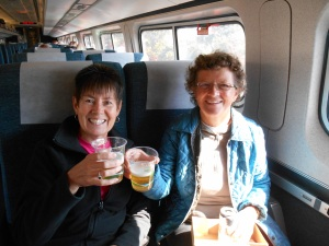 Kim and Anne enjoying a beer on the train to Washington
