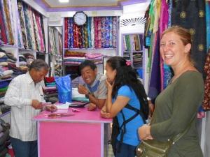 Sarah and I dress shopping with Phulu and Tendi.
