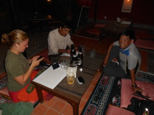 Binod, Tendi and Sarah join me in sharing beers upon my arrival at the hotel.