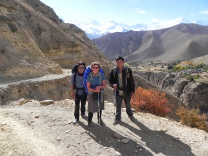 Me with Tendi and Tsheri  near one of many passes we crossed in the Upper Mustang.