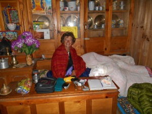 Me in my nest bed in Tendi and Lhamu's dining room.