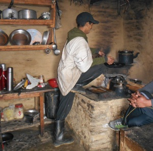 The kitchen with owner and cook at Low Camp. Seriously. But the food was great and his Masala tea the best on the trek.