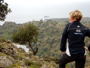 Here's Kathy sporting her ELM jacket. We were hiking up above the village of Loutro. A beautiful rugged landscape.