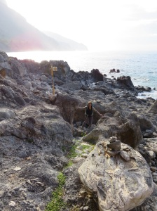 Here's me climbing up from the coast after our exciting scramble. As you can see, it's a fairly unforgiving coast line.