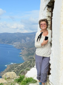 Here I am at our highest point of the day. In the back ground you can see the village of Sougia. Our destination. It took us 7 hours to hike about 12 k.  Now we did have an hour's lunch break but even so - it was a hard day. We both loved it.