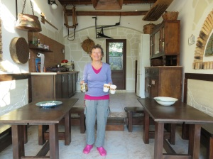 This is me having just made real Greek coffee in our open air kitchen. One of the reasons we selected this place is because we can prepare our own meals. Kathy survived the coffee I'm glad to say.