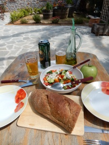 The lunch we made for ourselves today. This consumed in our courtyard garden under a warm Cretan sun.