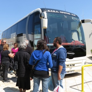 The Cretan idea of a lineup to get the best seats on a bus. This is a full contact sport and not for the faint of heart! Elbows out, a firm stance and a good solid pushiness is required.