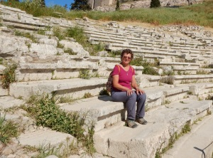 In the mid 1960s my dad took a picture of my sister and I sitting here in the Theatre of Dionysius. So here I sit again too many years later.