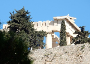 Looking up at the Parthenon on the Acropolis. Beautiful and serene even as a ruin.