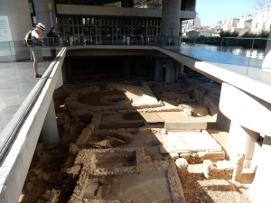 The Acropolis Museum sits on stilts over a recently discovered Athenian settlement. Much of it can be viewed through glass floors. This section is an open atrium.