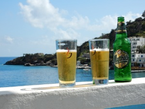 Our cold beers, enjoyed on our balcony in Loutro