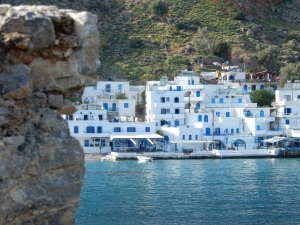 Loutro. Population 90. Our place is pretty much there in the centre. Nice don't you think. Costing us each 20. Euro a night. Unreal!